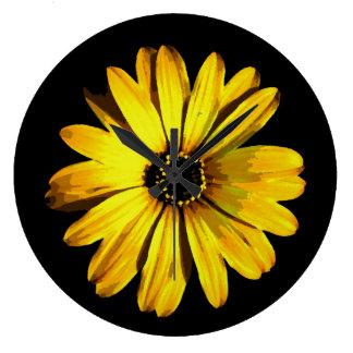 Yellow Neon Daisy Large Clock