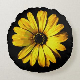 Yellow Neon Daisy Round Pillow