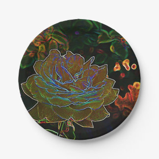 Yellow Neon Rose Paper Plate