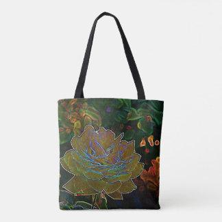 Yellow Neon Rose Tote Bag