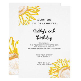 Yellow Neon Sunflower Birthday Party Invitation