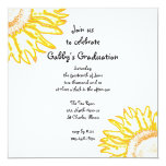 Yellow Neon Sunflower Graduation Party Invitation