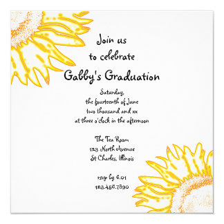 Yellow Neon Sunflower Graduation Party Invitation