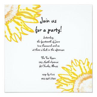 Yellow Neon Sunflower Party Invitation