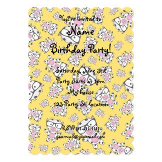 Yellow nerd cow pattern 5x7 paper invitation card