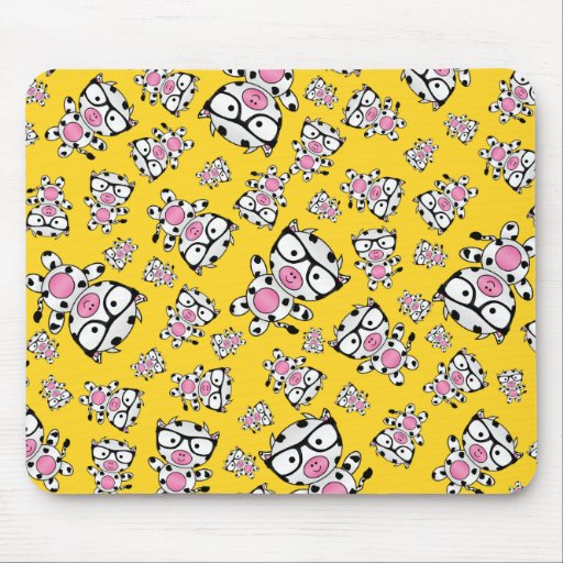 Yellow nerd cow pattern mouse pad