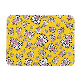 Yellow nerd cow pattern flexible magnets