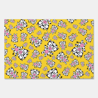 Yellow nerd cow pattern lawn signs