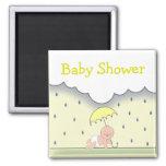 Yellow Neutral Baby Shower Magnet- Rain & Umbrella