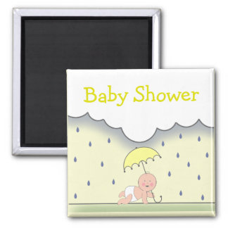 Yellow Neutral Baby Shower Magnet- Rain & Umbrella 2 Inch Square Magnet