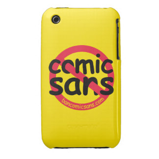 Yellow No Comic Sans iPhone 3 Case