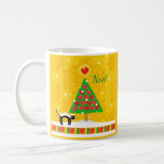 Yellow Noel Christmas Tree, Black Cat, Snow Coffee Mugs