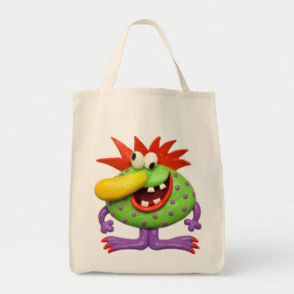 Yellow Nose Monster Grocery Tote Bag