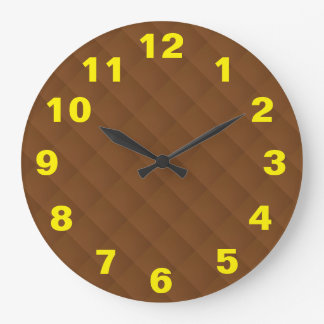 Yellow Numbers Brown Pattern Large Clock