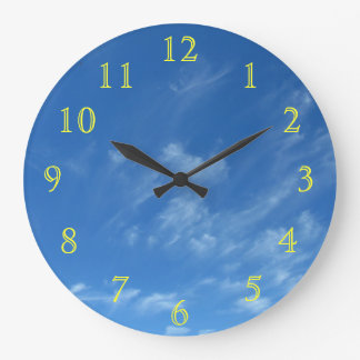Yellow Numbers on Blue Sky Large Clock