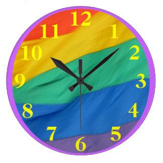 Yellow Numbers on Rainbow Flag Large Clock