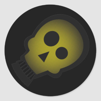 YELLOW NUTTY SKULL ROUND STICKERS
