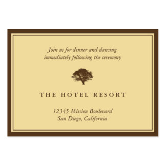 Yellow oak tree wedding reception enclosure cards business cards
