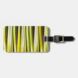 Yellow Ochre and Brown Stripy Lines Pattern Luggage Tag