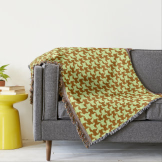 Yellow Ochre Houndstooth with dogs Throw Blanket
