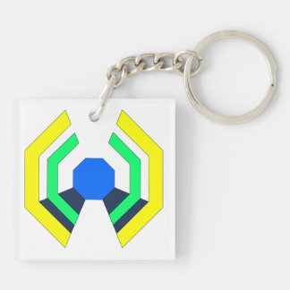 yellow octagon keychain