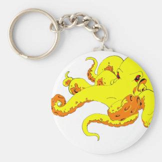 Yellow Octopus Keychain