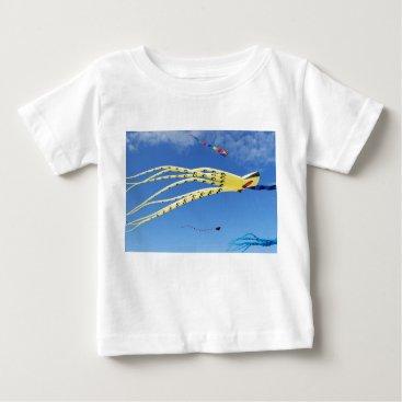 Beach Themed Yellow Octopus Kite Baby T-Shirt