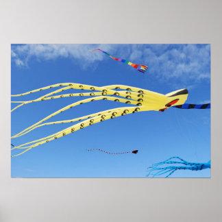 Yellow Octopus Kite Poster