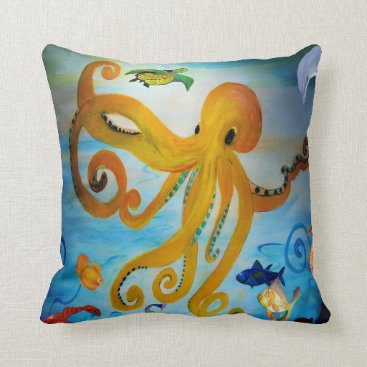Beach Themed Yellow octopus party throw pillow