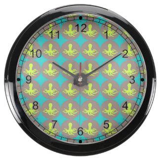 Yellow octopus pattern aqua clock