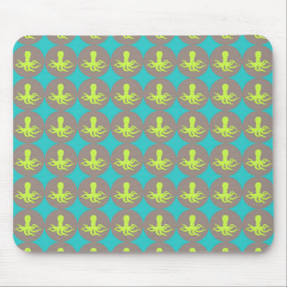 Yellow octopus pattern mouse pad
