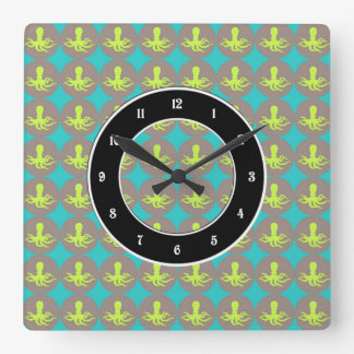Yellow octopus pattern square wall clock