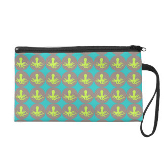 Yellow octopus pattern wristlet purse