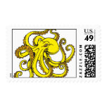 Yellow Octopus Postage Stamp