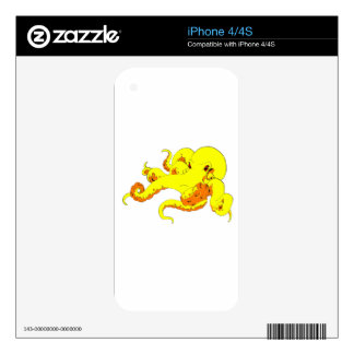 Yellow Octopus Skins For The iPhone 4