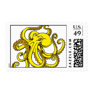 Yellow Octopus Stamp