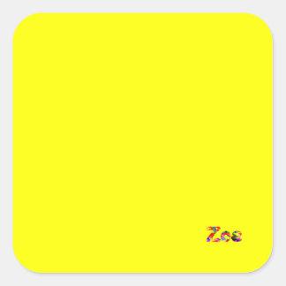 Yellow office accessories for Zoe Square Sticker