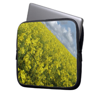 Yellow Oilseed agaisnt blue and cloudy sky Laptop Computer Sleeve