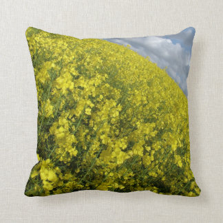 Yellow Oilseed agaisnt blue and cloudy sky Pillow