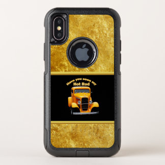Yellow old roadster with gold black foill design OtterBox commuter iPhone x case