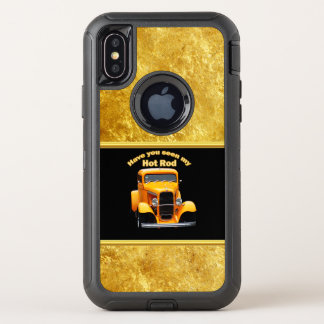 Yellow old roadster with gold black foill design OtterBox defender iPhone x case