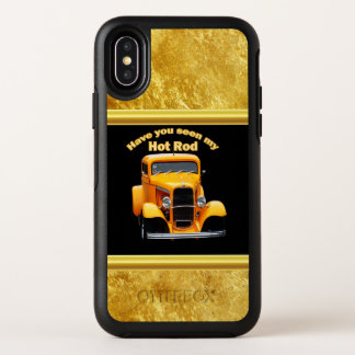 Yellow old roadster with gold black foill design OtterBox symmetry iPhone x case