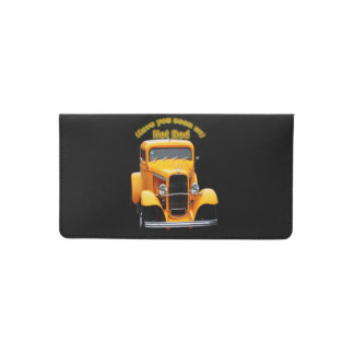 Yellow old roadster with the front windows chopped checkbook cover