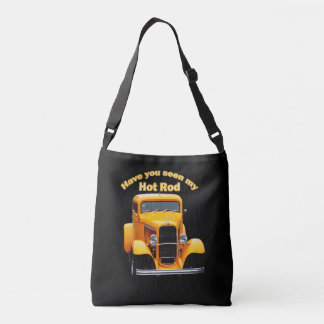 Yellow old roadster with the front windows chopped crossbody bag