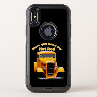 Yellow old roadster with the front windows chopped OtterBox commuter iPhone x case