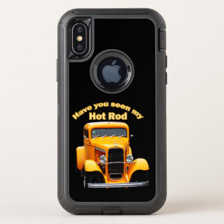 Yellow old roadster with the front windows chopped OtterBox defender iPhone x case