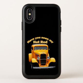 Yellow old roadster with the front windows chopped OtterBox symmetry iPhone x case
