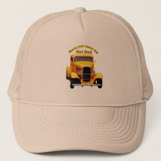 Yellow old roadster with the front windows chopped trucker hat