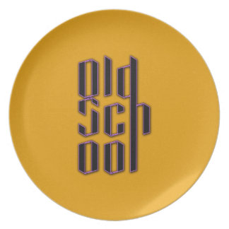 Yellow Old School Dinner Plate