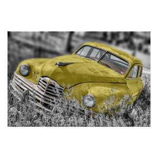 Yellow old-timer poster